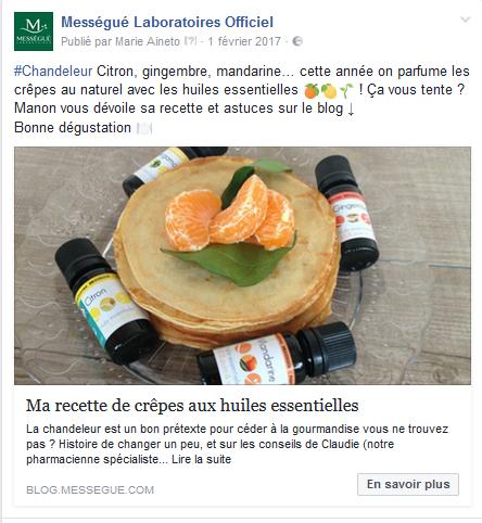 post facebook crêpes aux huiles essentielles