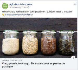 Page communautaire Facebook Agir dans le bon sens - Crédit Agricole