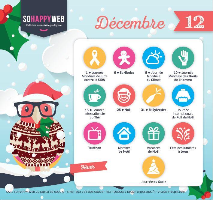 Calendrier édito décembre spécial réseaux sociaux