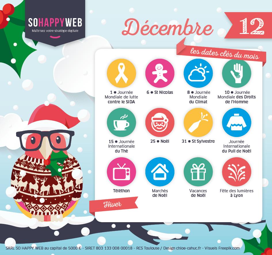 Calendrier éditorial décembre SO HAPPY WEB