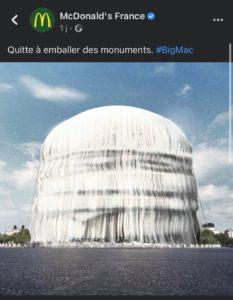Engagement actualité So Happy Web Mcdonald Arc de Triomphe