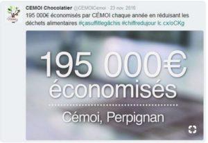 Cémoi - chiffre économie réalisé avec réduction des déchets