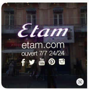 Présence réseaux sociaux - vitrine ETAM