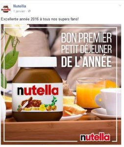 Voeux Nutella sur les réseaux sociaux