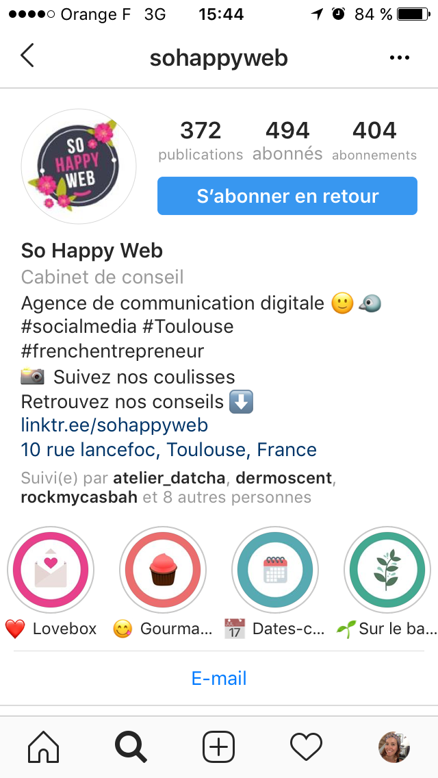 biographie instagram So Happy Web