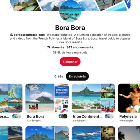 pinterest, le compte de Bora Bora pour s'évader !