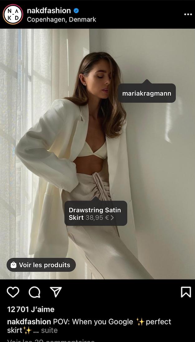 social shopping instagram nakd - tendances réseaux sociaux